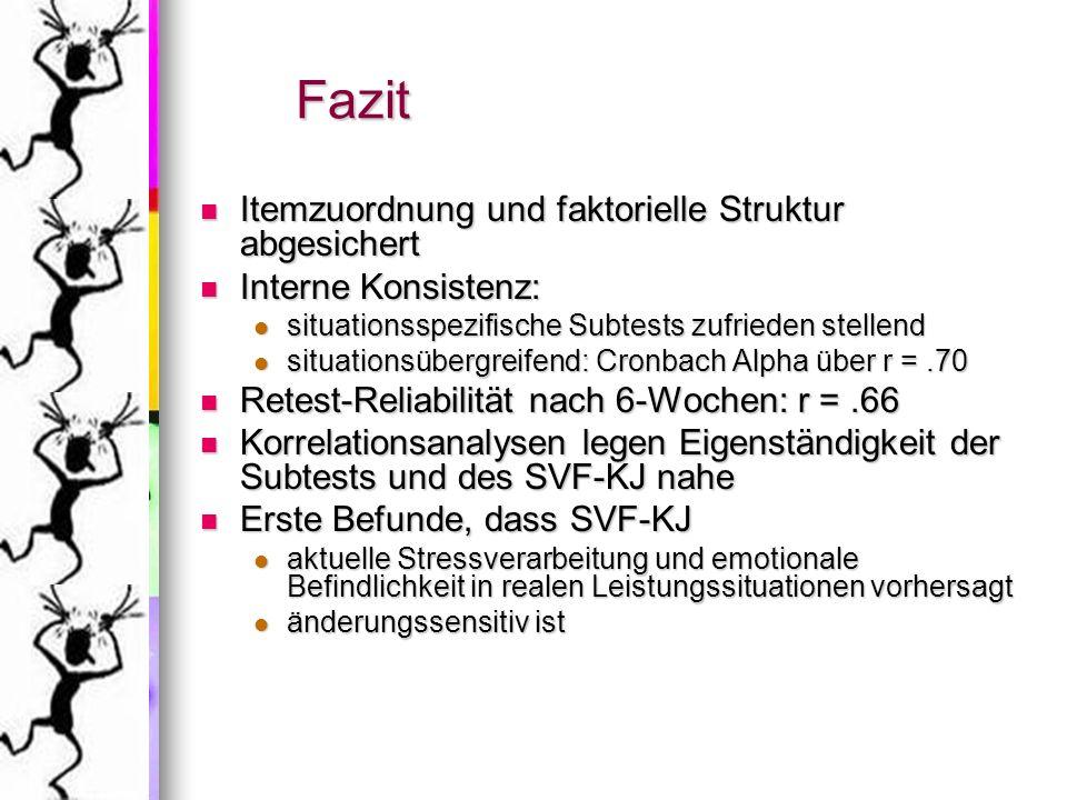 Fazit Itemzuordnung und faktorielle Struktur abgesichert Itemzuordnung und faktorielle Struktur abgesichert Interne Konsistenz: Interne Konsistenz: si