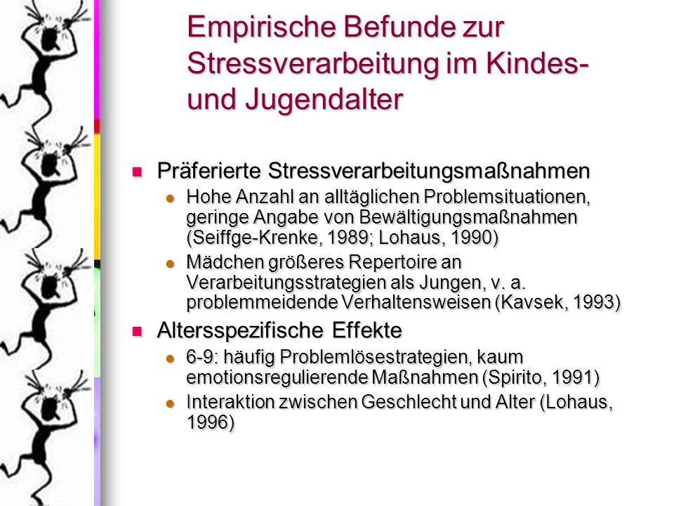 Beschreibung des SVF-KJ Prinzipien der klassischen Testtheorie Prinzipien der klassischen Testtheorie Selbstbeurteilungsinstrument Selbstbeurteilungsinstrument Itemstamm: 2 Stressorbereiche Itemstamm: 2 Stressorbereiche individuelle soziale Konfliktsituation individuelle soziale Konfliktsituation schulische Leistungssituation schulische Leistungssituation allgemein umschrieben, 2 Beispiele allgemein umschrieben, 2 Beispiele stressbegleitendes emotionales Befinden stressbegleitendes emotionales Befinden Struktur: Struktur: 9 Subtests: 5 stressverringernde, 4 stress- vermehrende Verarbeitungsstrategien 9 Subtests: 5 stressverringernde, 4 stress- vermehrende Verarbeitungsstrategien jeder Subtest 4 Items insgesamt 72 Items jeder Subtest 4 Items insgesamt 72 Items