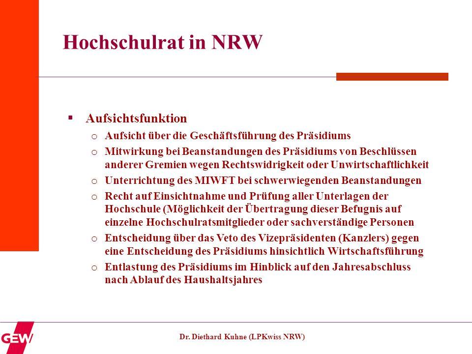 Dr. Diethard Kuhne (LPKwiss NRW) Hochschulrat in NRW Aufsichtsfunktion o Aufsicht über die Geschäftsführung des Präsidiums o Mitwirkung bei Beanstandu