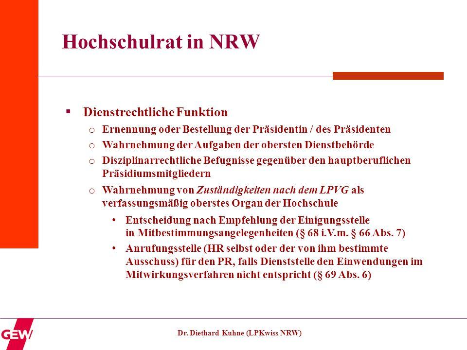 Dr. Diethard Kuhne (LPKwiss NRW) Hochschulrat in NRW Dienstrechtliche Funktion o Ernennung oder Bestellung der Präsidentin / des Präsidenten o Wahrneh