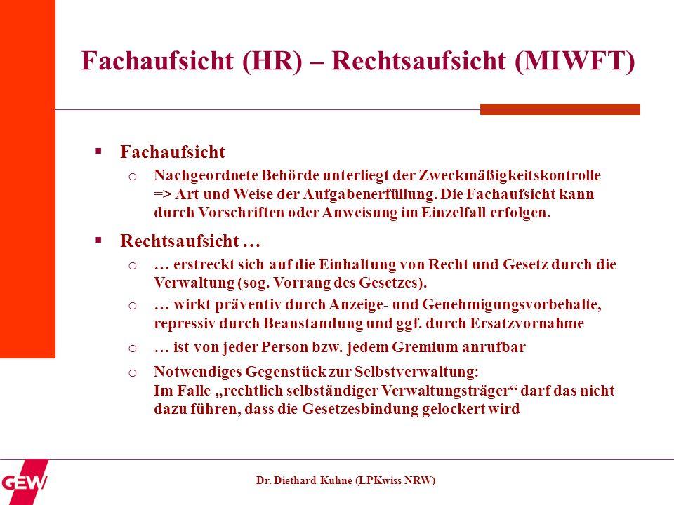 Dr. Diethard Kuhne (LPKwiss NRW) Fachaufsicht (HR) – Rechtsaufsicht (MIWFT) Fachaufsicht o Nachgeordnete Behörde unterliegt der Zweckmäßigkeitskontrol