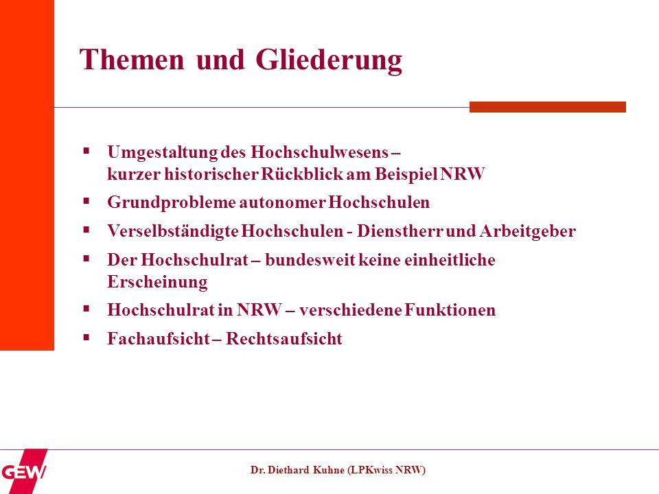 Dr. Diethard Kuhne (LPKwiss NRW) Themen und Gliederung Umgestaltung des Hochschulwesens – kurzer historischer Rückblick am Beispiel NRW Grundprobleme