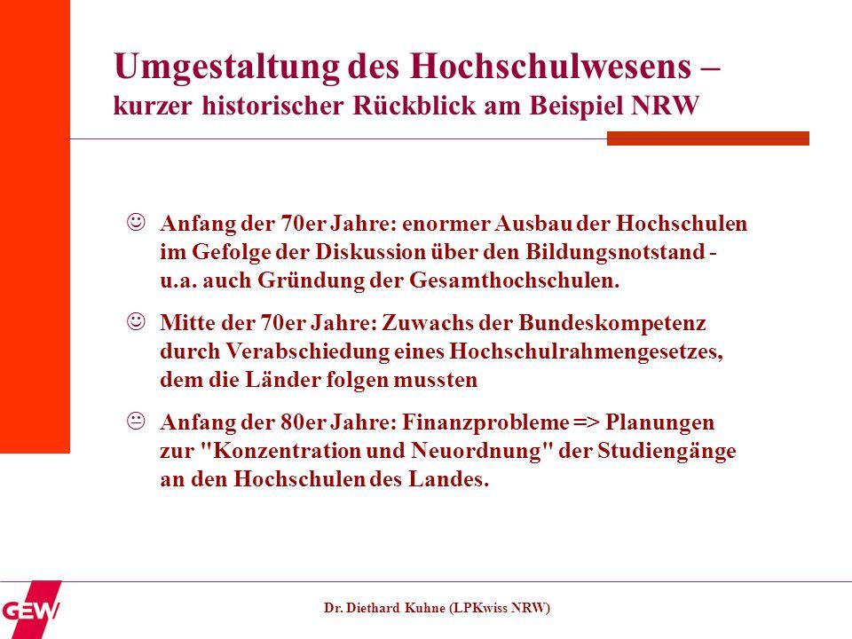 Dr. Diethard Kuhne (LPKwiss NRW) Umgestaltung des Hochschulwesens – kurzer historischer Rückblick am Beispiel NRW Anfang der 70er Jahre: enormer Ausba