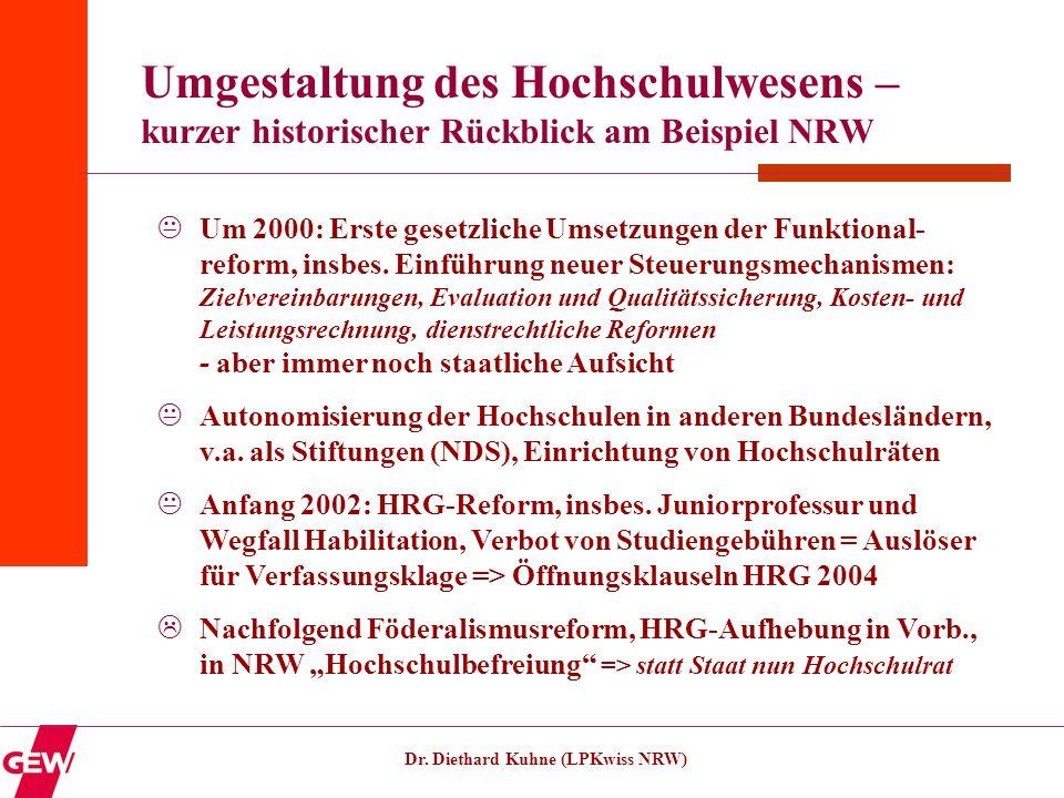 Dr. Diethard Kuhne (LPKwiss NRW) Umgestaltung des Hochschulwesens – kurzer historischer Rückblick am Beispiel NRW Um 2000: Erste gesetzliche Umsetzung