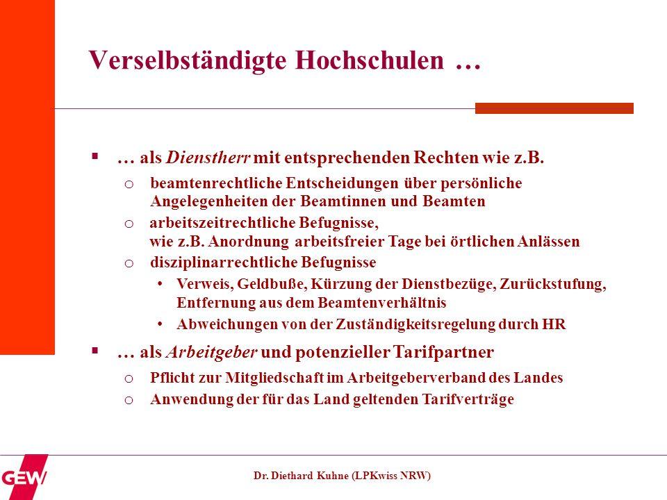Dr. Diethard Kuhne (LPKwiss NRW) Verselbständigte Hochschulen … … als Dienstherr mit entsprechenden Rechten wie z.B. o beamtenrechtliche Entscheidunge