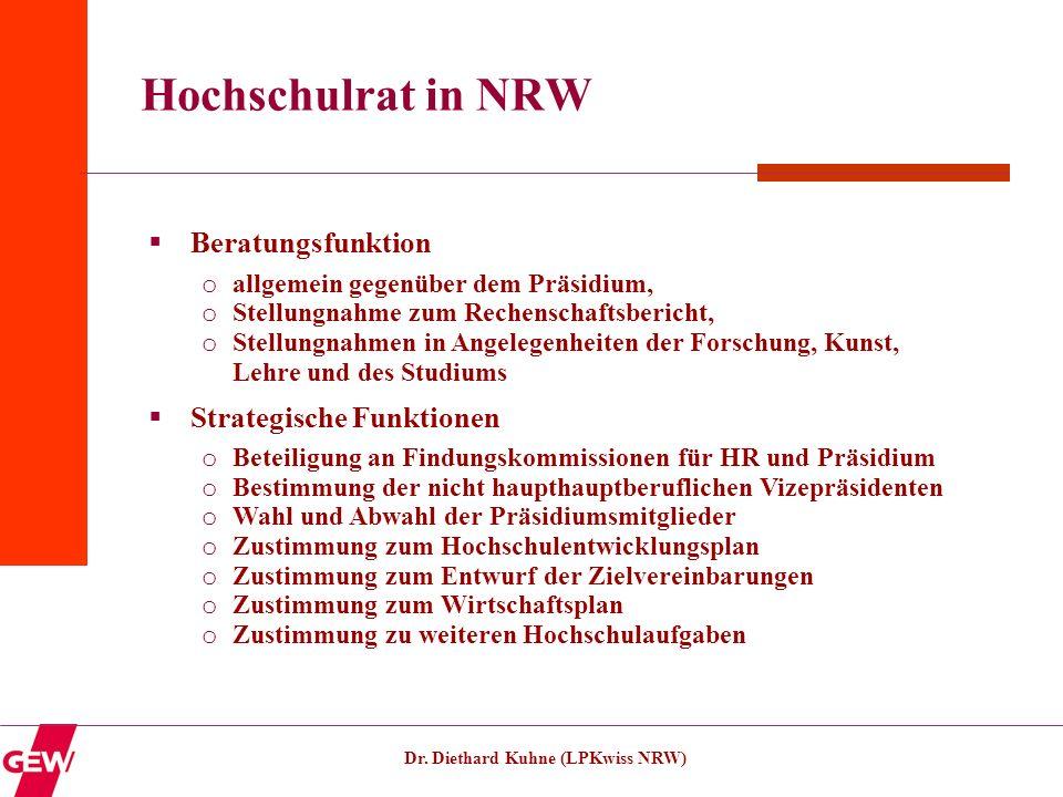 Dr. Diethard Kuhne (LPKwiss NRW) Hochschulrat in NRW Beratungsfunktion o allgemein gegenüber dem Präsidium, o Stellungnahme zum Rechenschaftsbericht,