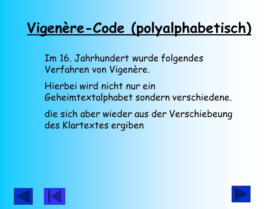 Vigenère-Code (polyalphabetisch) Im 16. Jahrhundert wurde folgendes Verfahren von Vigenère. Hierbei wird nicht nur ein Geheimtextalphabet sondern vers