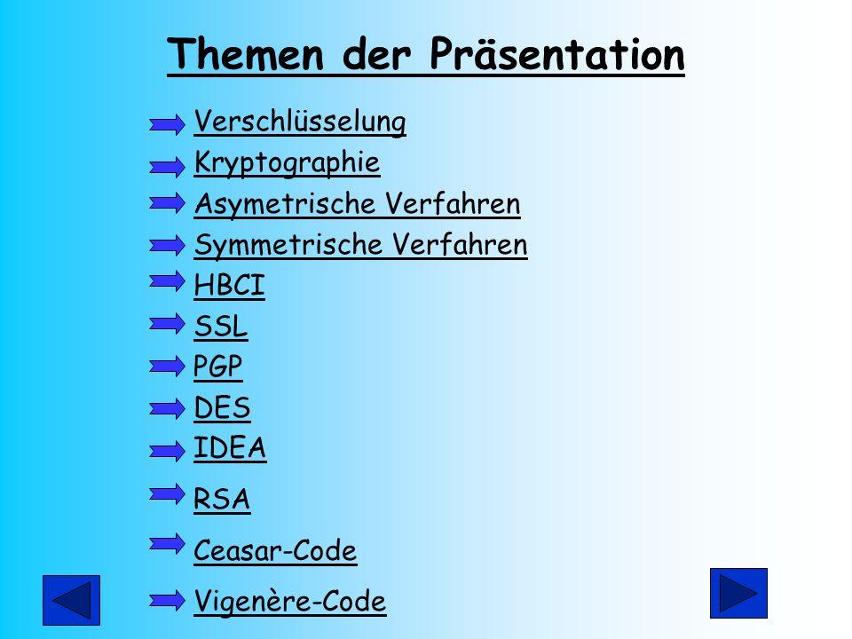 Themen der Präsentation Verschlüsselung Kryptographie Asymetrische Verfahren Symmetrische Verfahren HBCI SSL PGP DES IDEA RSA Ceasar-Code Vigenère-Cod