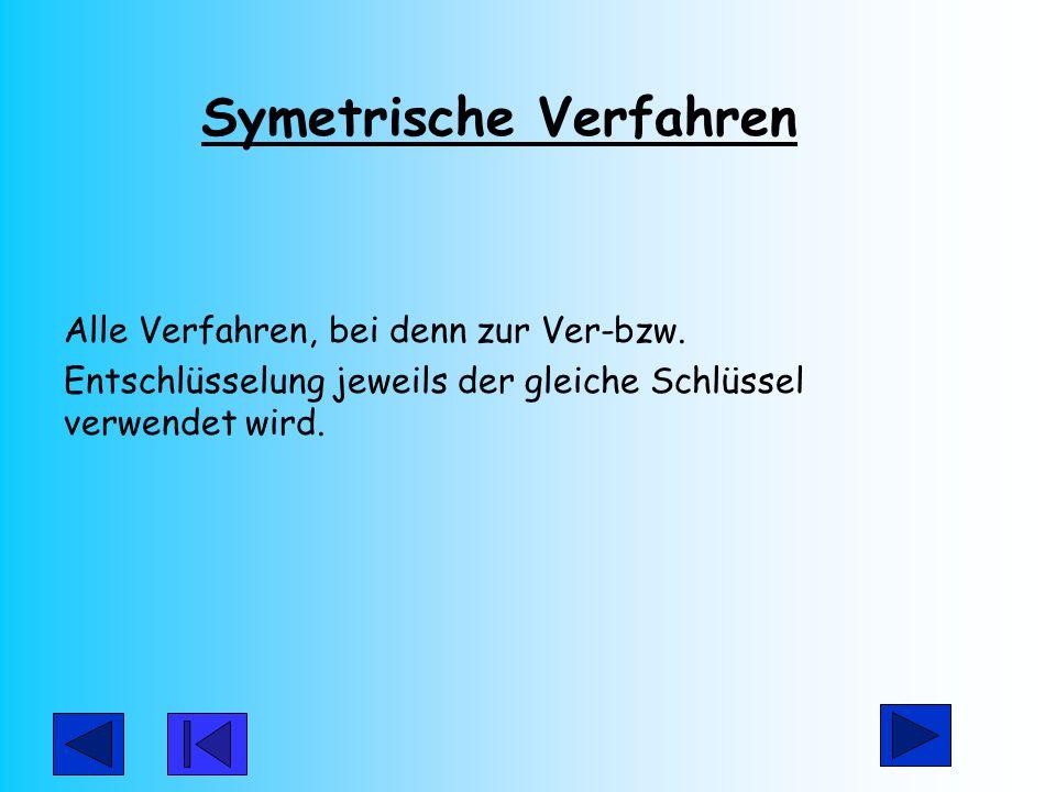 Symetrische Verfahren Alle Verfahren, bei denn zur Ver-bzw. Entschlüsselung jeweils der gleiche Schlüssel verwendet wird.