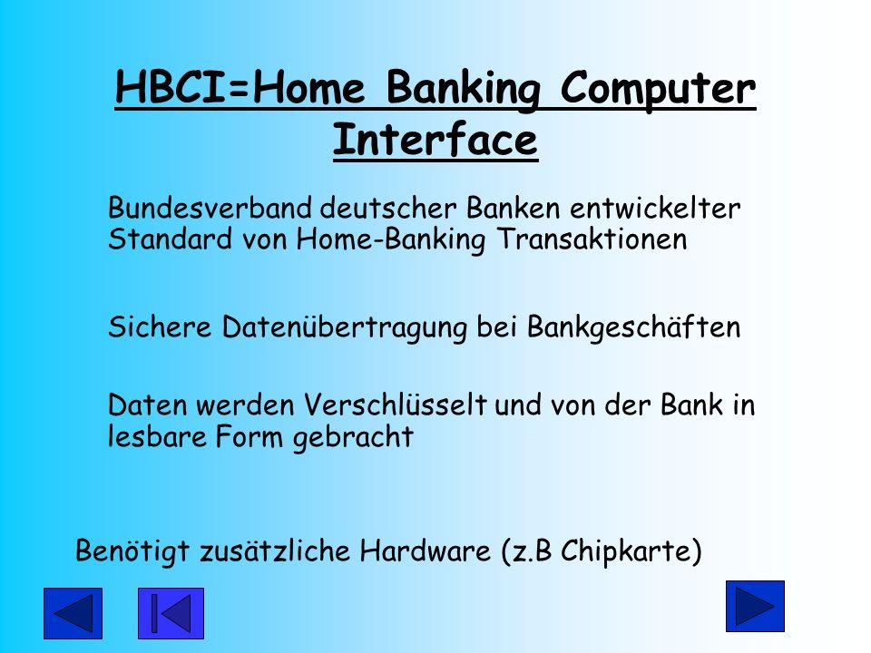 HBCI=Home Banking Computer Interface Bundesverband deutscher Banken entwickelter Standard von Home-Banking Transaktionen Sichere Datenübertragung bei