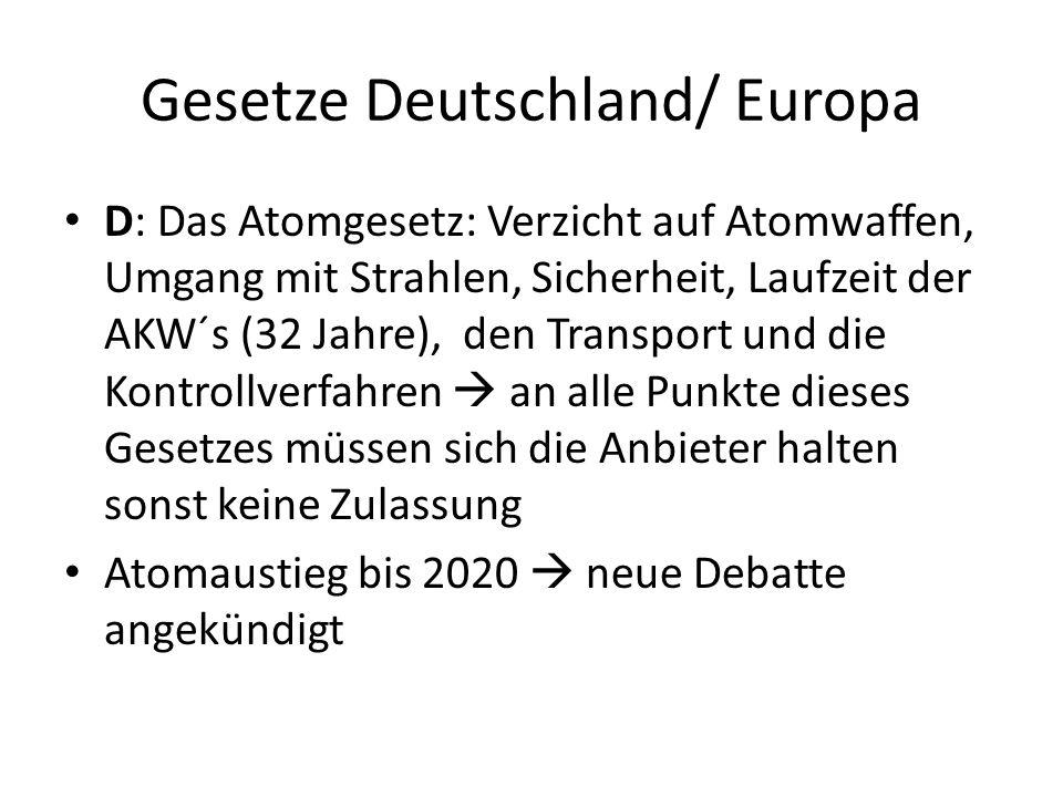 Gesetze Deutschland/ Europa D: Das Atomgesetz: Verzicht auf Atomwaffen, Umgang mit Strahlen, Sicherheit, Laufzeit der AKW´s (32 Jahre), den Transport
