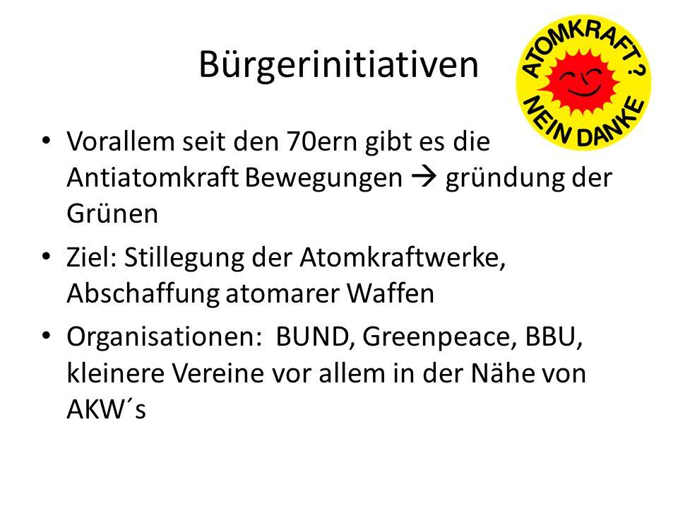 Bürgerinitiativen Vorallem seit den 70ern gibt es die Antiatomkraft Bewegungen gründung der Grünen Ziel: Stillegung der Atomkraftwerke, Abschaffung at