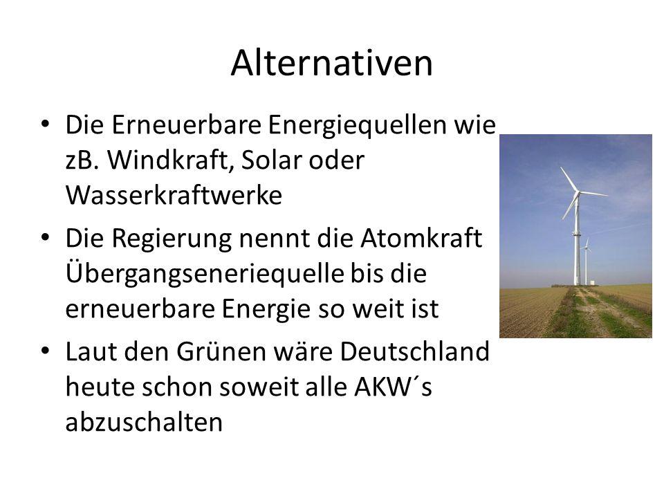 Alternativen Die Erneuerbare Energiequellen wie zB. Windkraft, Solar oder Wasserkraftwerke Die Regierung nennt die Atomkraft Übergangseneriequelle bis