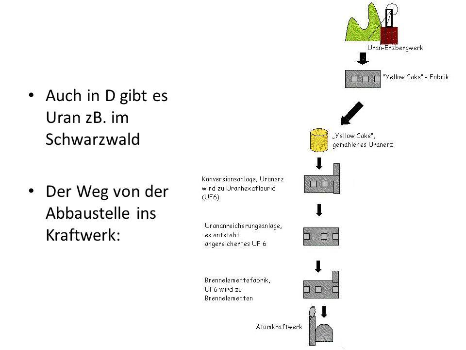 Auch in D gibt es Uran zB. im Schwarzwald Der Weg von der Abbaustelle ins Kraftwerk: