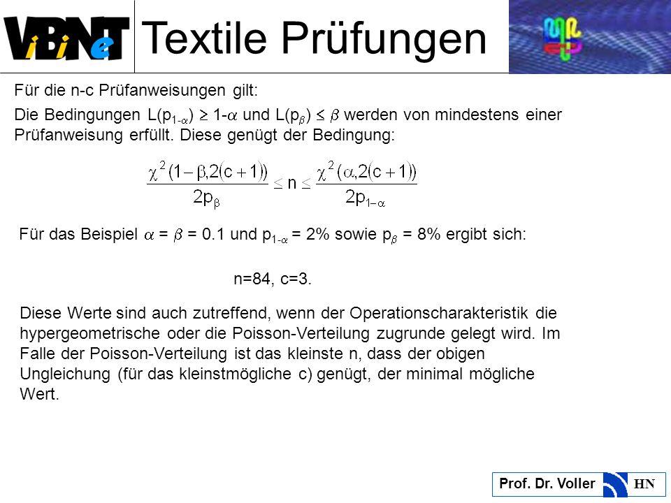 Textile Prüfungen Prof. Dr. Voller HN Für die n-c Prüfanweisungen gilt: Die Bedingungen L(p 1- ) 1- und L(p ) werden von mindestens einer Prüfanweisun