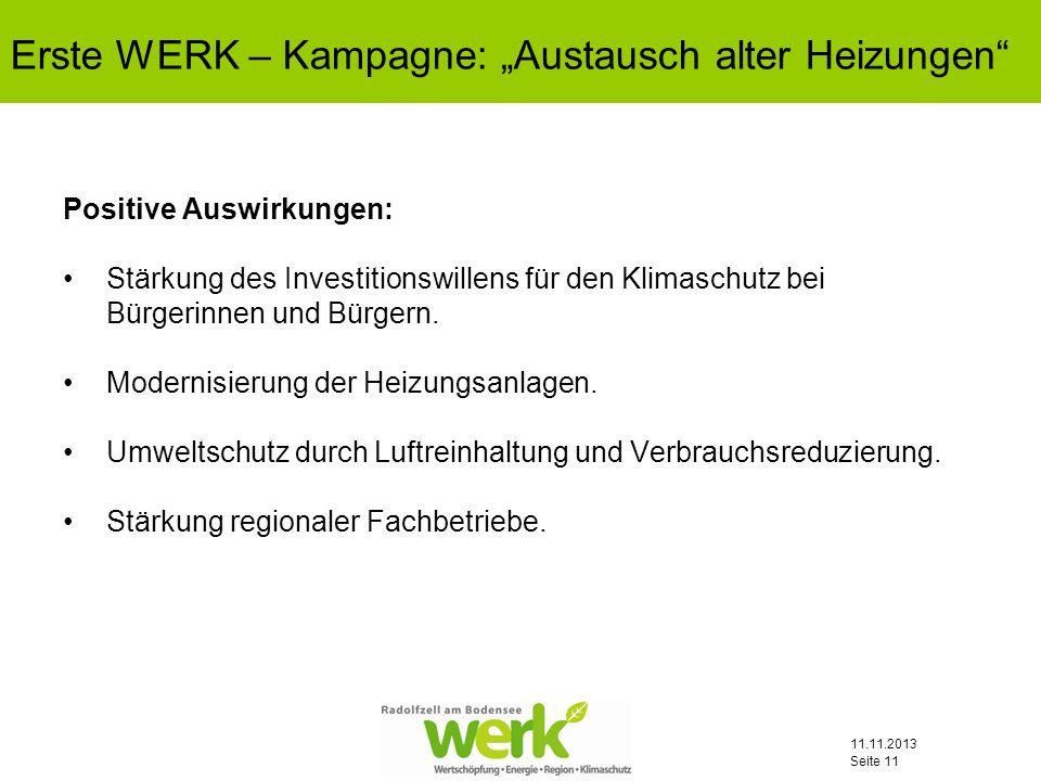 11.11.2013 Seite 11 Positive Auswirkungen: Stärkung des Investitionswillens für den Klimaschutz bei Bürgerinnen und Bürgern. Modernisierung der Heizun