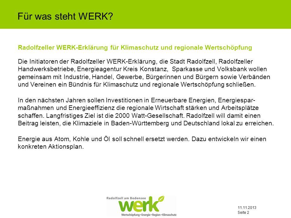 11.11.2013 Seite 13 Mögliche Bausteine der Kampagne (Basisversion): Wettbewerb älteste Pumpe/älteste Heizung in Radolfzell.