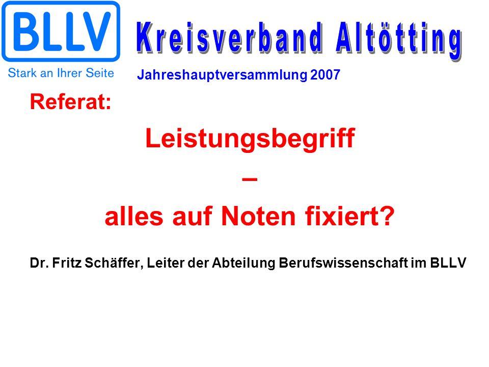 Jahreshauptversammlung 2007 Referat: Leistungsbegriff – alles auf Noten fixiert? Dr. Fritz Schäffer, Leiter der Abteilung Berufswissenschaft im BLLV