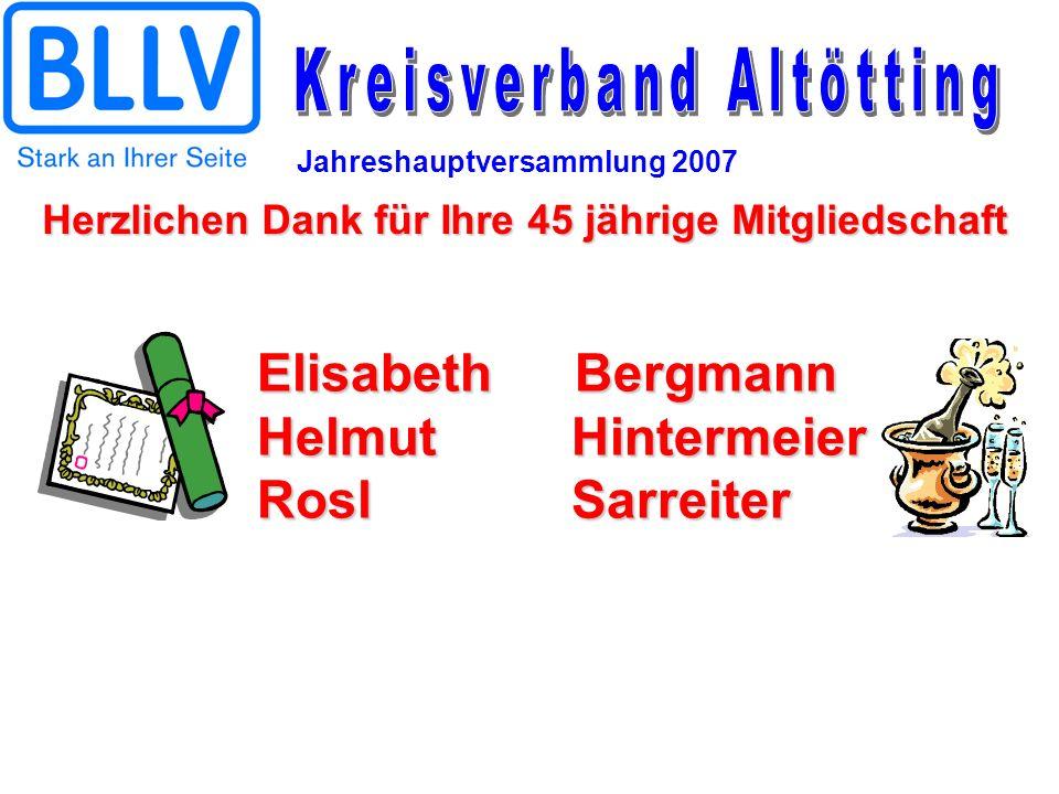 Jahreshauptversammlung 2007 ElisabethBergmann Helmut Hintermeier Rosl Sarreiter Herzlichen Dank für Ihre 45 jährige Mitgliedschaft