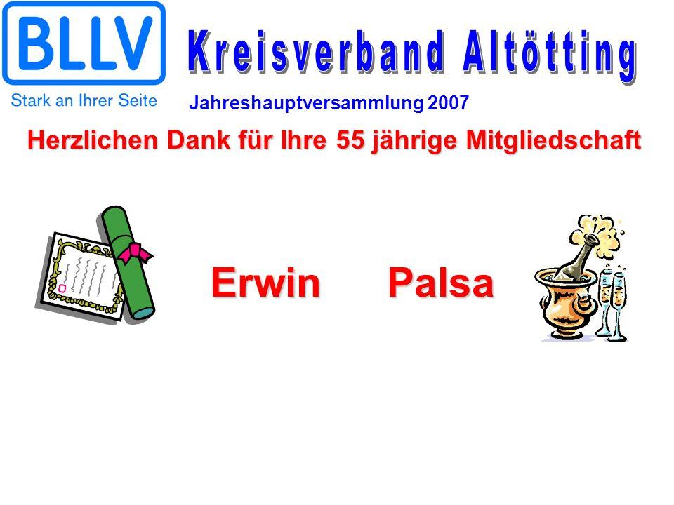 Jahreshauptversammlung 2007 ErwinPalsa Herzlichen Dank für Ihre 55 jährige Mitgliedschaft