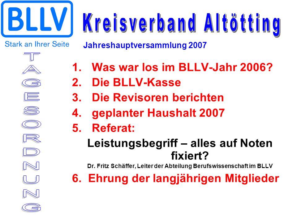 1.Was war los im BLLV-Jahr 2006? 2.Die BLLV-Kasse 3.Die Revisoren berichten 4.geplanter Haushalt 2007 5.Referat: Leistungsbegriff – alles auf Noten fi