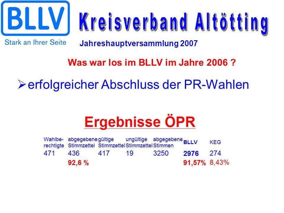 Jahreshauptversammlung 2007 erfolgreicher Abschluss der PR-Wahlen Was war los im BLLV im Jahre 2006 ?