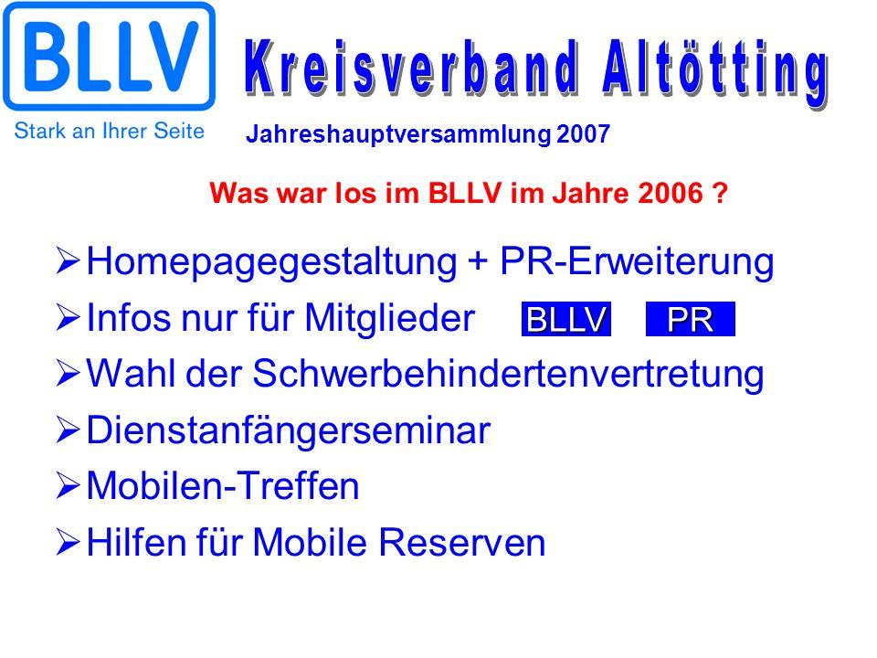 Jahreshauptversammlung 2007 Homepagegestaltung + PR-Erweiterung Infos nur für Mitglieder Wahl der Schwerbehindertenvertretung Dienstanfängerseminar Mo