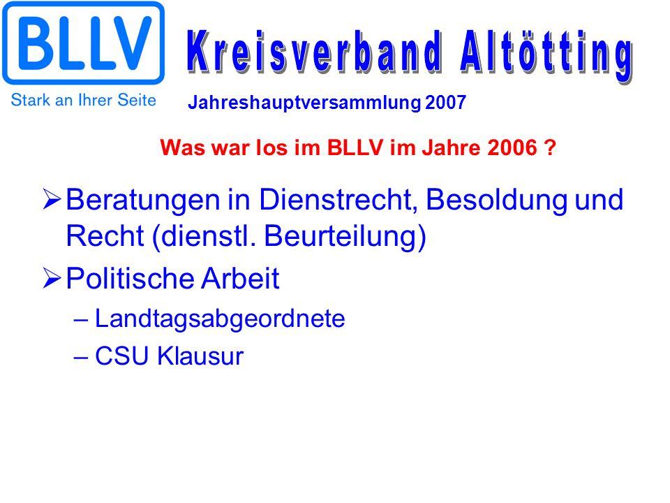 Jahreshauptversammlung 2007 Beratungen in Dienstrecht, Besoldung und Recht (dienstl. Beurteilung) Politische Arbeit –Landtagsabgeordnete –CSU Klausur
