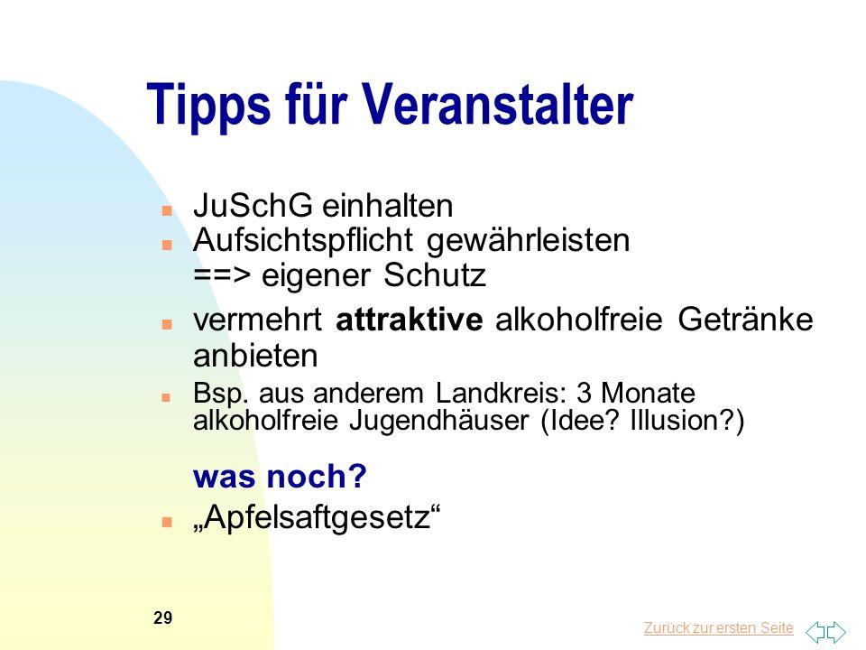 Zurück zur ersten Seite Tipps für Veranstalter n JuSchG einhalten n Aufsichtspflicht gewährleisten ==> eigener Schutz n vermehrt attraktive alkoholfre