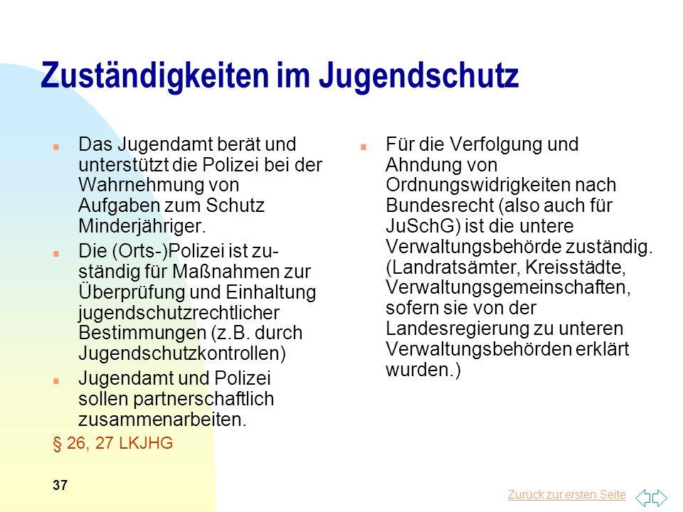 Zurück zur ersten Seite Zuständigkeiten im Jugendschutz n Das Jugendamt berät und unterstützt die Polizei bei der Wahrnehmung von Aufgaben zum Schutz