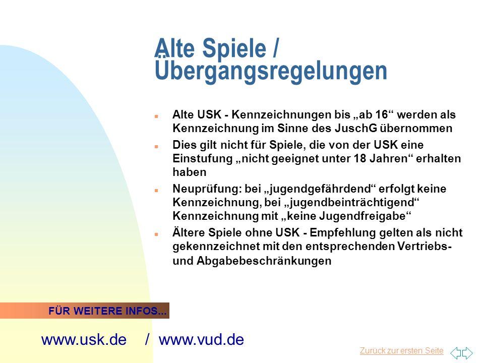Alte Spiele / Übergangsregelungen n Alte USK - Kennzeichnungen bis ab 16 werden als Kennzeichnung im Sinne des JuschG übernommen n Dies gilt nicht für
