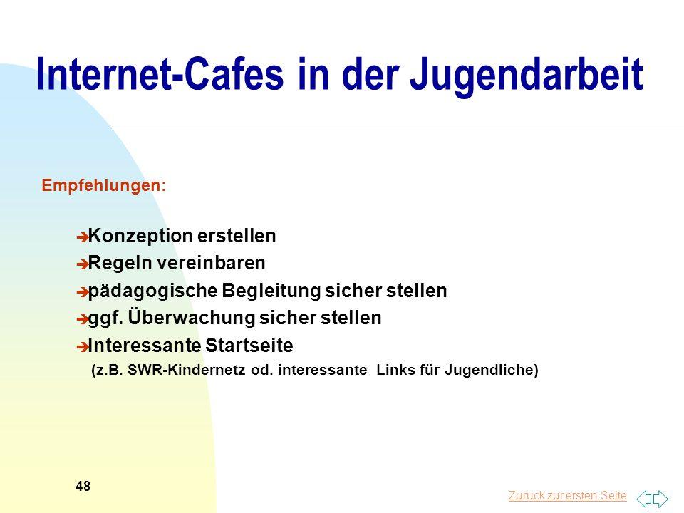 Zurück zur ersten Seite Internet-Cafes in der Jugendarbeit Empfehlungen: è Konzeption erstellen è Regeln vereinbaren è pädagogische Begleitung sicher