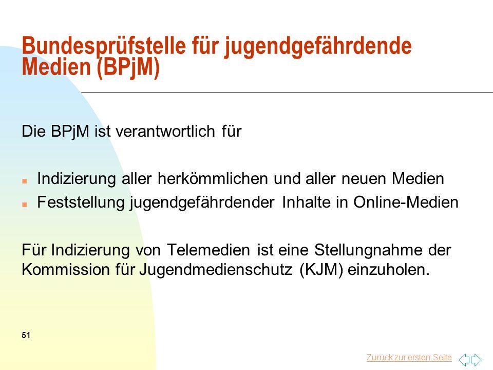Zurück zur ersten Seite Bundesprüfstelle für jugendgefährdende Medien (BPjM) Die BPjM ist verantwortlich für n Indizierung aller herkömmlichen und all