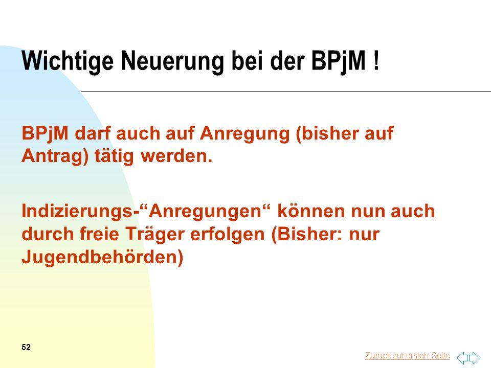 Zurück zur ersten Seite Wichtige Neuerung bei der BPjM ! BPjM darf auch auf Anregung (bisher auf Antrag) tätig werden. Indizierungs-Anregungen können