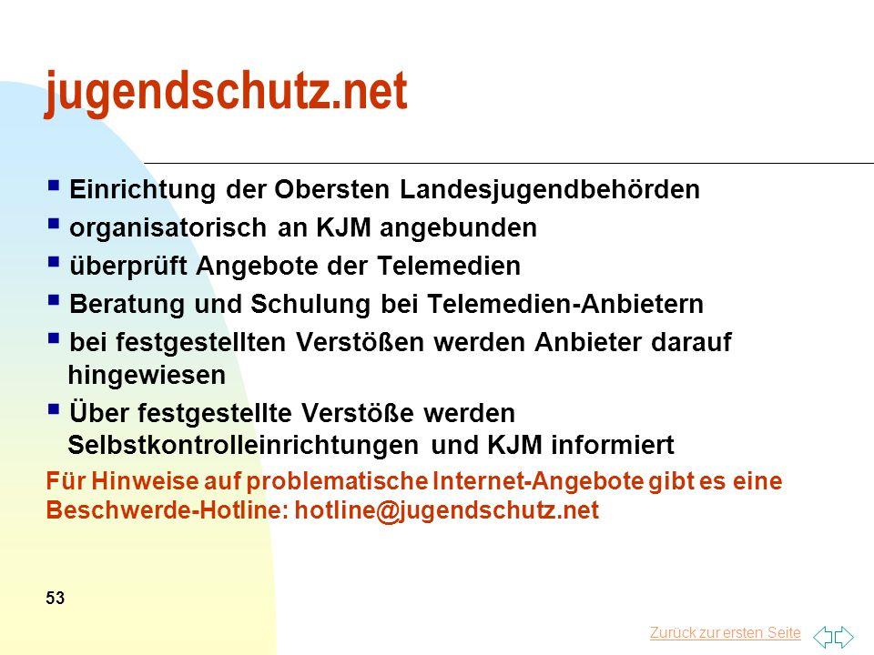 Zurück zur ersten Seite jugendschutz.net Einrichtung der Obersten Landesjugendbehörden organisatorisch an KJM angebunden überprüft Angebote der Teleme