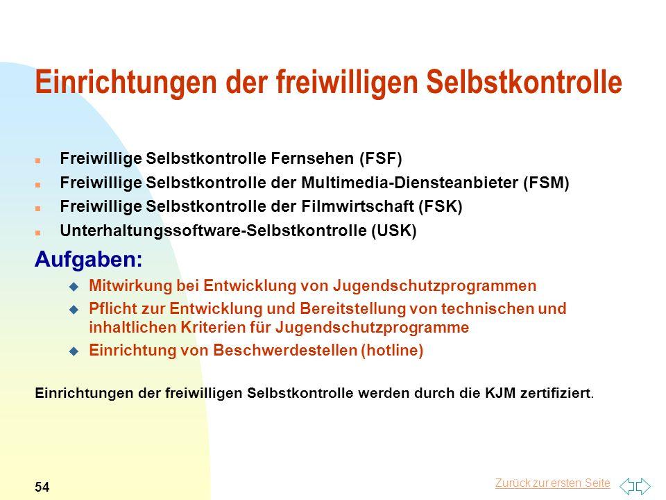 Zurück zur ersten Seite Einrichtungen der freiwilligen Selbstkontrolle n Freiwillige Selbstkontrolle Fernsehen (FSF) n Freiwillige Selbstkontrolle der