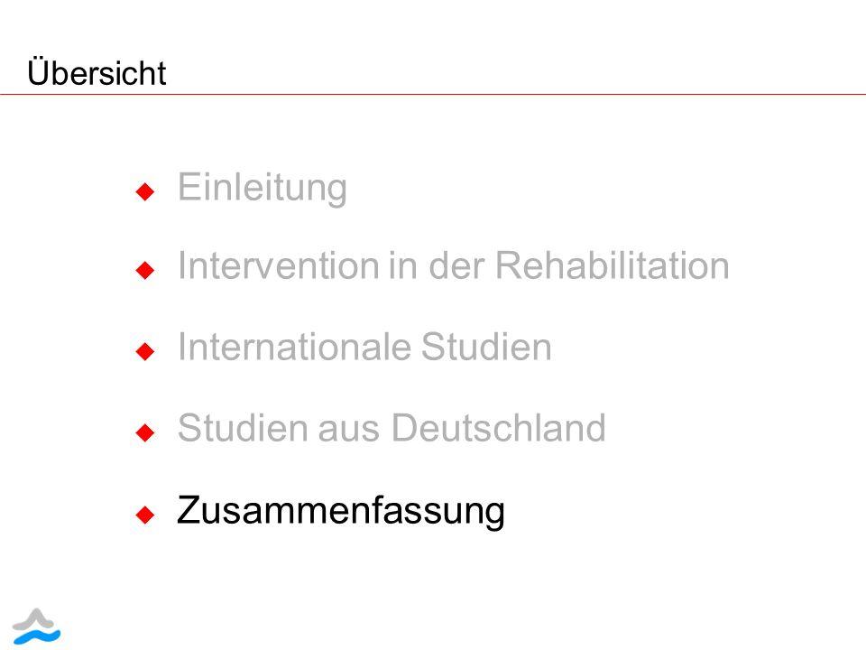 Einleitung Intervention in der Rehabilitation Internationale Studien Studien aus Deutschland Zusammenfassung Übersicht