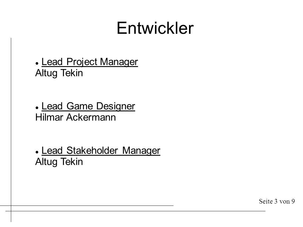 Entwickler Lead Project Manager Altug Tekin Lead Game Designer Hilmar Ackermann Lead Stakeholder Manager Altug Tekin Seite 3 von 9