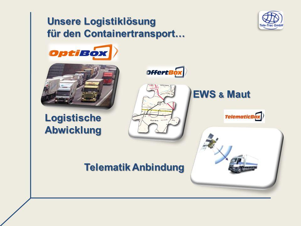 Unsere Logistiklösung für den Containertransport… LogistischeAbwicklung EWS & Maut Telematik Anbindung