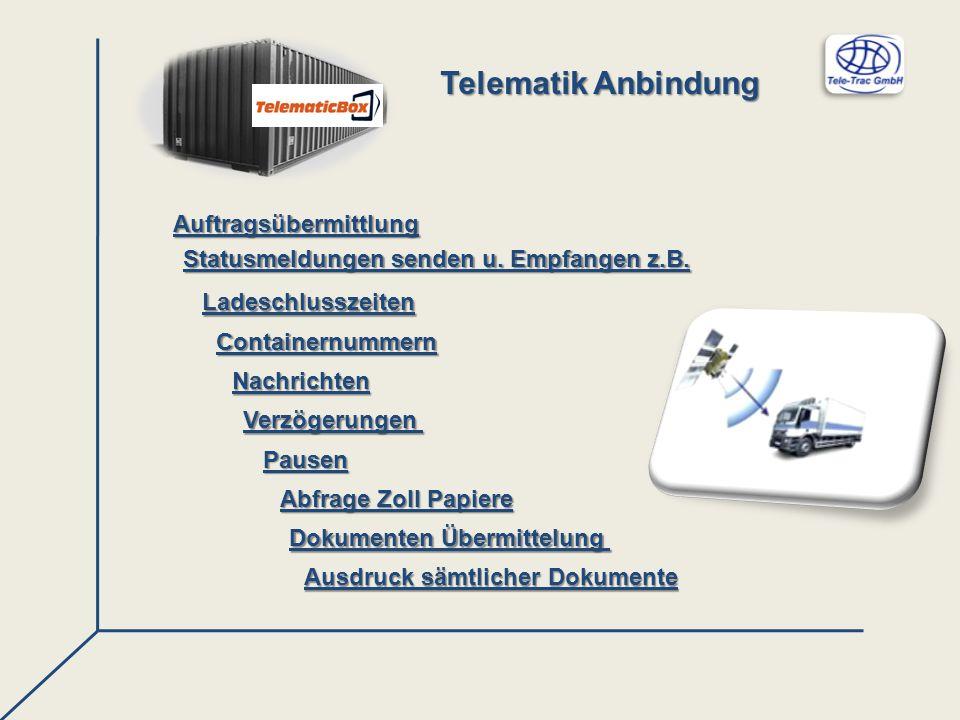 Nachrichten Auftragsübermittlung Ladeschlusszeiten Containernummern Dokumenten Übermittelung Ausdruck sämtlicher Dokumente Statusmeldungen senden u. E