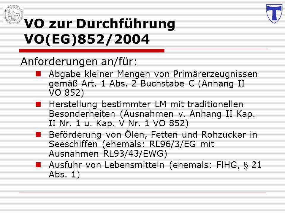 VO zur Durchführung VO(EG)852/2004 Anforderungen an/für: Abgabe kleiner Mengen von Primärerzeugnissen gemäß Art. 1 Abs. 2 Buchstabe C (Anhang II VO 85