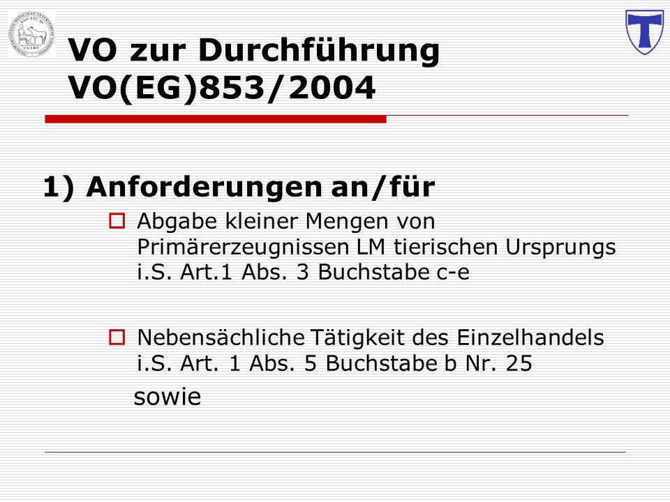 VO zur Durchführung VO(EG)853/2004 1) Anforderungen an/für Abgabe kleiner Mengen von Primärerzeugnissen LM tierischen Ursprungs i.S. Art.1 Abs. 3 Buch