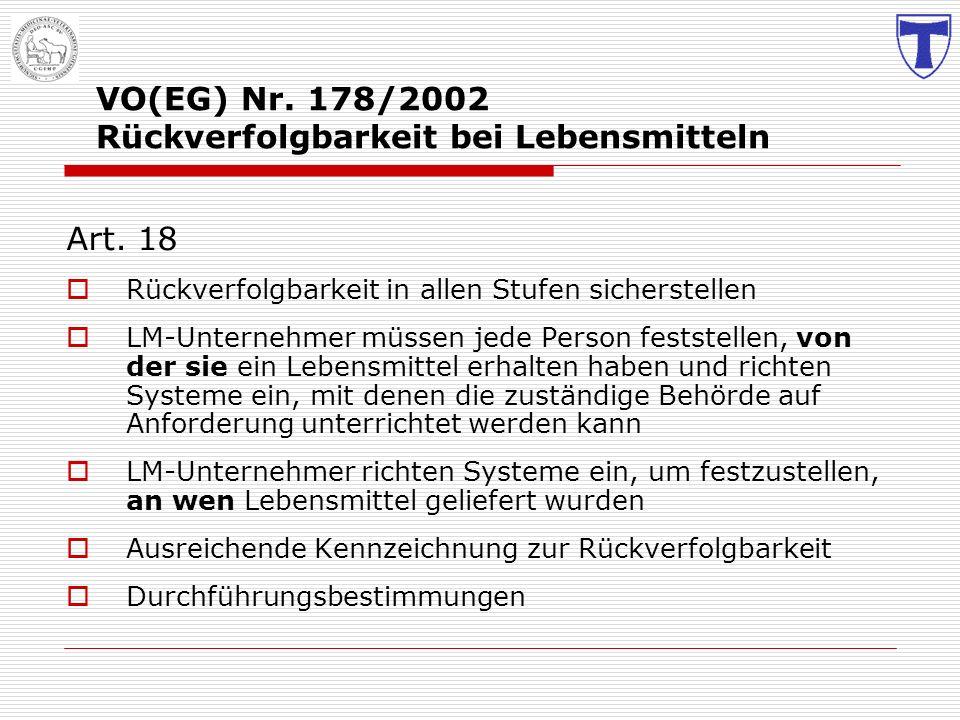 VO(EG) Nr. 178/2002 Rückverfolgbarkeit bei Lebensmitteln Art. 18 Rückverfolgbarkeit in allen Stufen sicherstellen LM-Unternehmer müssen jede Person fe