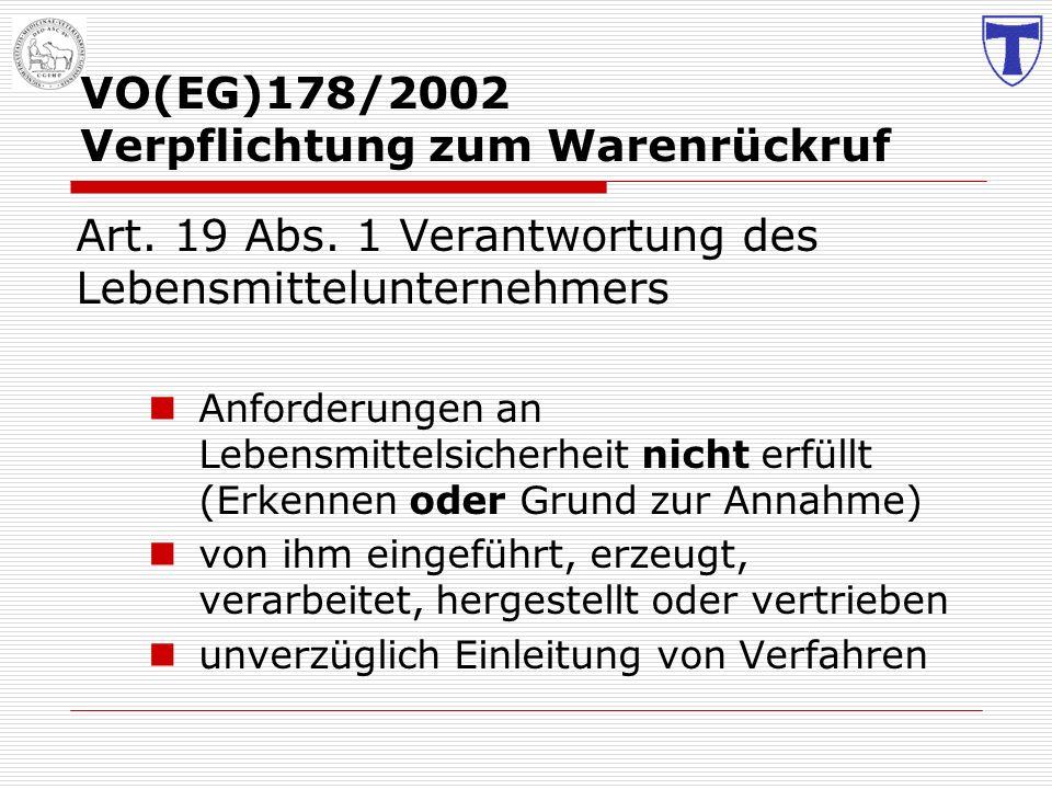VO(EG)178/2002 Verpflichtung zum Warenrückruf Art. 19 Abs. 1 Verantwortung des Lebensmittelunternehmers Anforderungen an Lebensmittelsicherheit nicht