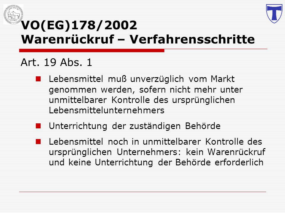 VO(EG)178/2002 Warenrückruf – Verfahrensschritte Art. 19 Abs. 1 Lebensmittel muß unverzüglich vom Markt genommen werden, sofern nicht mehr unter unmit