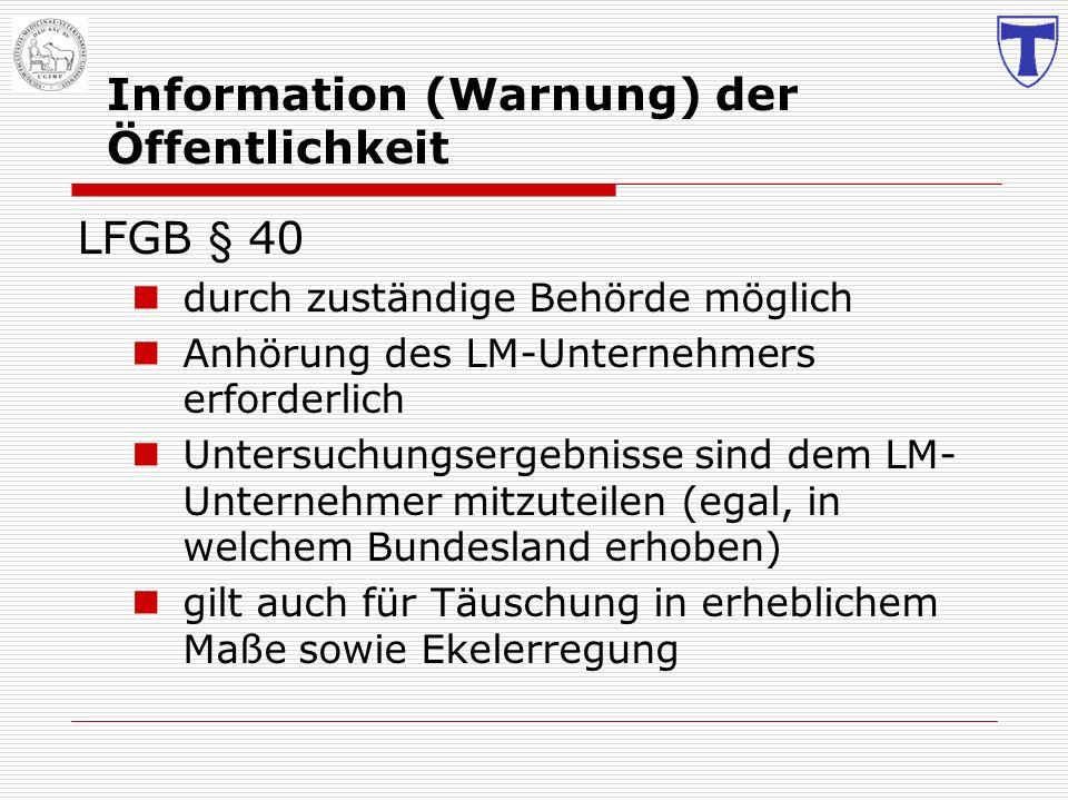 Information (Warnung) der Öffentlichkeit LFGB § 40 durch zuständige Behörde möglich Anhörung des LM-Unternehmers erforderlich Untersuchungsergebnisse