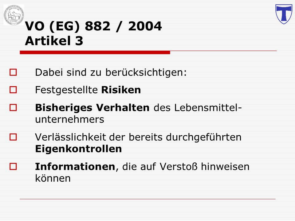 VO (EG) 882 / 2004 Artikel 3 Dabei sind zu berücksichtigen: Festgestellte Risiken Bisheriges Verhalten des Lebensmittel- unternehmers Verlässlichkeit