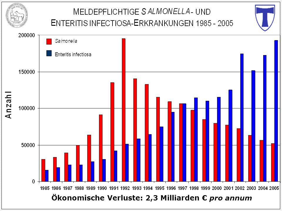 Ökonomische Verluste: 2,3 Milliarden pro annum