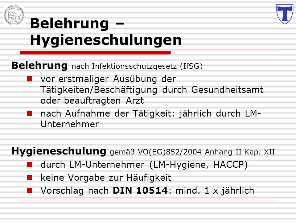 Belehrung – Hygieneschulungen Belehrung nach Infektionsschutzgesetz (IfSG) vor erstmaliger Ausübung der Tätigkeiten/Beschäftigung durch Gesundheitsamt