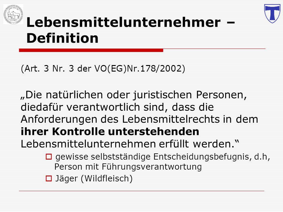 Lebensmittelunternehmer – Definition (Art. 3 Nr. 3 der VO(EG)Nr.178/2002) Die natürlichen oder juristischen Personen, diedafür verantwortlich sind, da